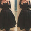Long Sleeve Black off shoulder Simple V-neck formal homecoming prom dress,BD0033