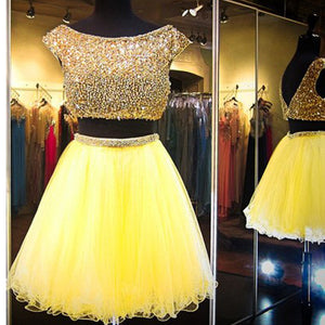 Popular Yellow Cap Sleeve Vintage gorgeous V-Back Casual homecoming dresses,BD00172
