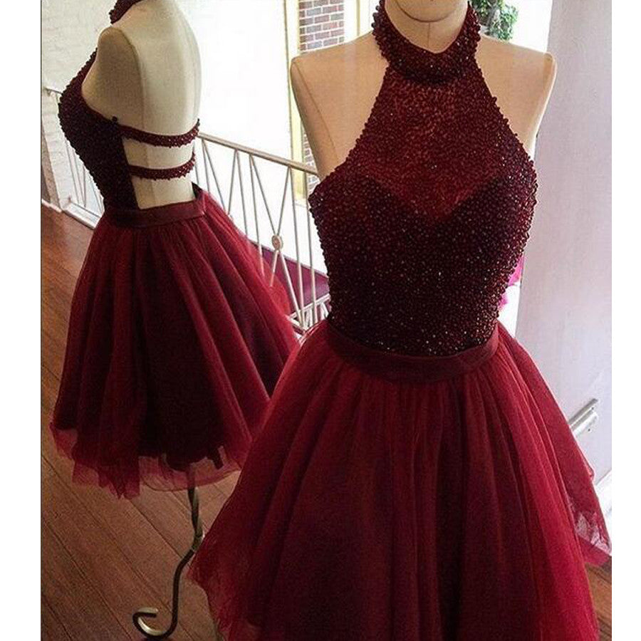 New Arrival Burgundy Halter Beaded Open Back Unique  homecoming dresses,BD00108