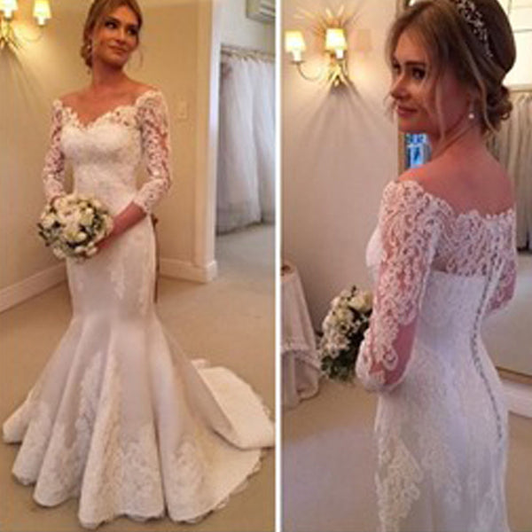 f30aef4bdcdf8 Charming Off Shoulder Long Sleeve Mermaid White Satin Lace Wedding Dresses,  WD0206