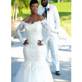 Long Sleeve Off Shoulder Mermaid Plush Size Sexy Wedding Dress, WD0182