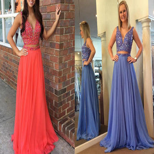 Two Pieces Beaded Sparkly Vintage For Teens Ball Gown Prom Dresses. DB0300
