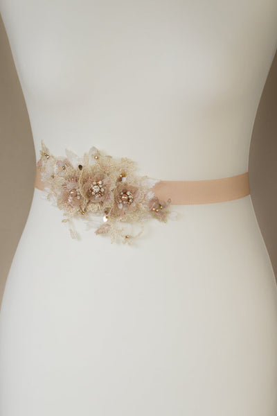 Ivory Dusty Pink Floral Bridal Belt,Wedding Belt, Girl Sash,Lace Appliques Wedding Sashes, SA0033