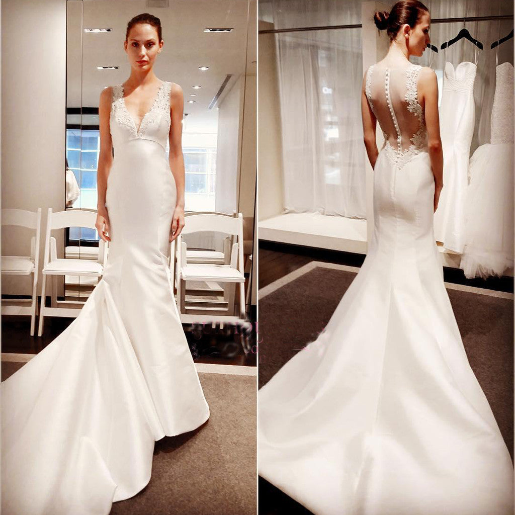 Classic Elegant Simple Modest Lace Cheap Bridal Gown