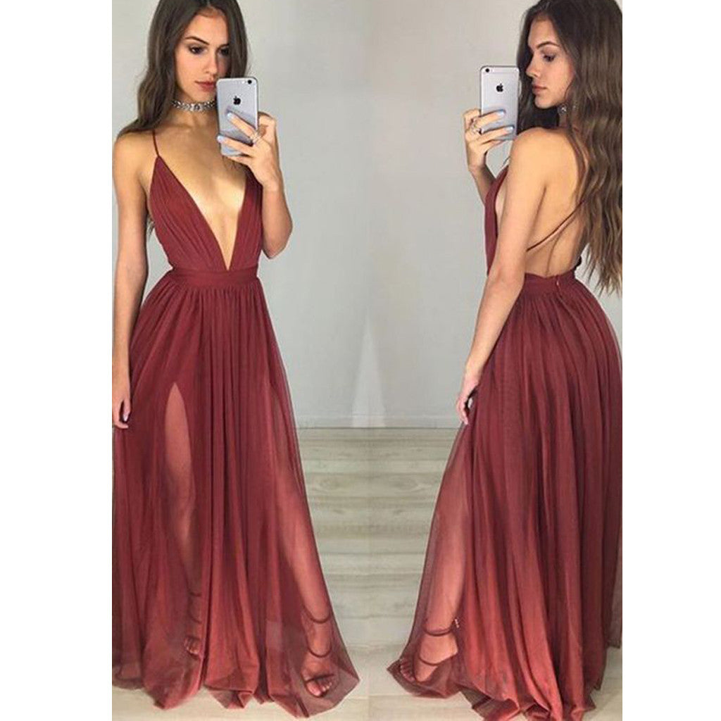 Long Custom Burgundy Spaghetti Straps Backless Sexy Evening Party Prom Gown Dresses.  PD0251