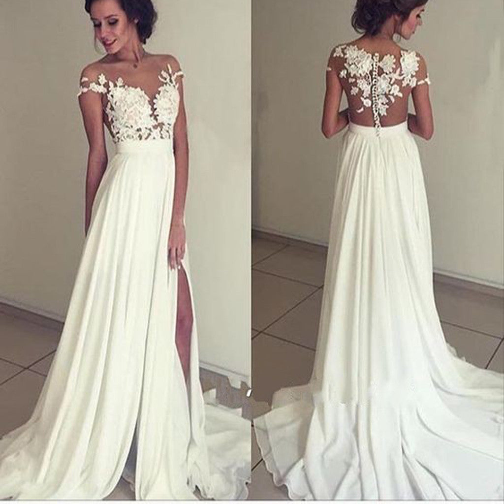 Long Appliques Chiffon Floor-Length Charming Evening Party Prom Gown Dresses. PD0252