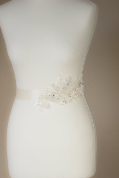 White Floral Bridal Belt,Wedding Belt,Beading Girl Sash,Lace Appliques Wedding Sashes, SA0029
