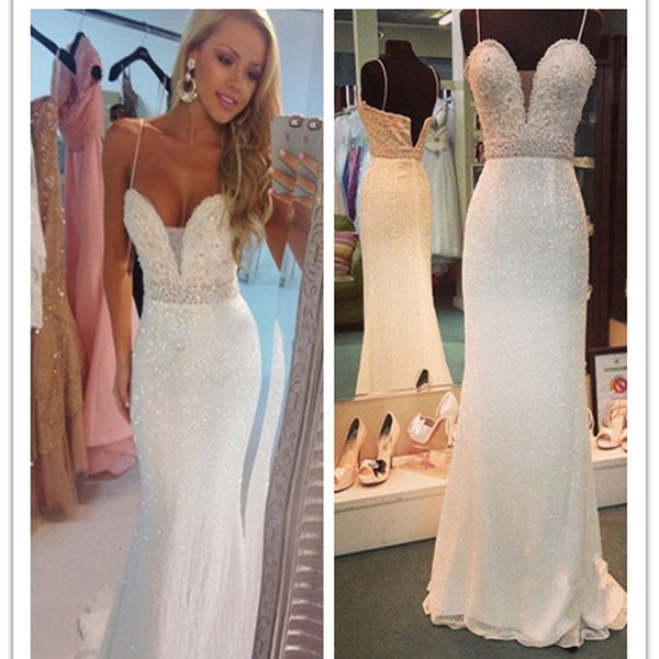 Long white Beaded Spaghetti Straps Mermaid Sexy For teens Evening part Dresses.  PD0256