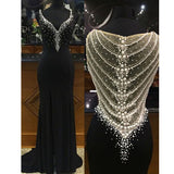 Beaded Sparkly Gorgeous Black Charming Prom Gown Dresses. PD00259