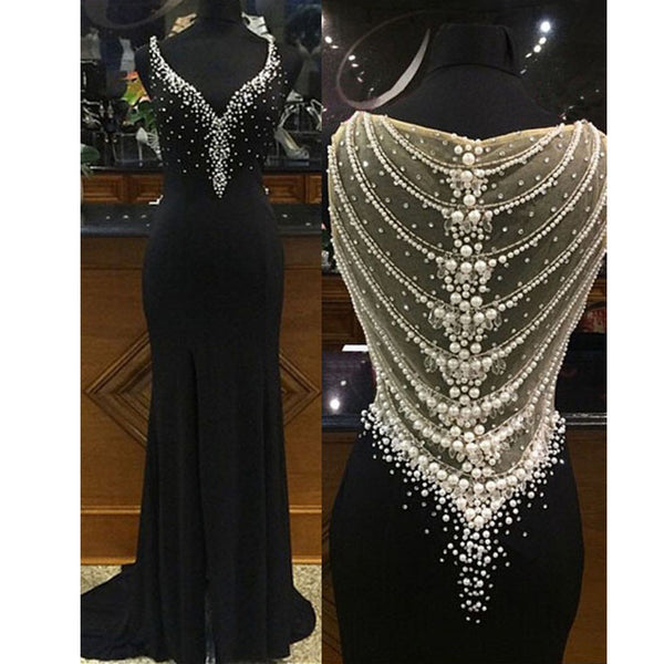 2017 Beaded Sparkly Gorgeous Black Charming Prom Gown Dresses. PD00259