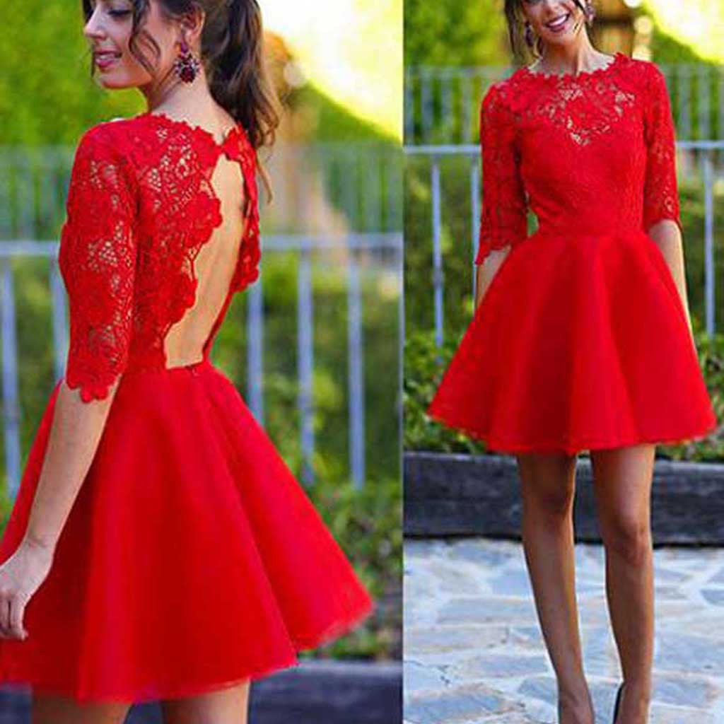 Red half sleeve see through lace open back charming homecoming prom gown dress,BD0023
