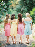 Convertible  Strapless Knee Length Pastel Color Jersey Bridesmaid Dress For Outdoor Garden Summery Beach Wedding, AB1162