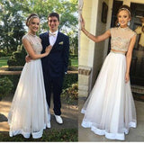 Vintage High Neck Two Pieces Ball Gown Formal Evening Prom Gowns Dresses. AB0301