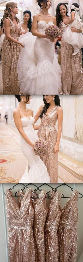 Popular Cheap Sequin Long  V-Neck Floor-Length Bridesmaid Dresses, WG09