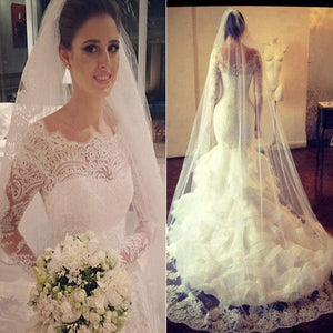 Long Sleeve Lace Mermaid Gorgeous Junior Bridal Gown With Ruffled Organza Train Wedding Dress , WD0099