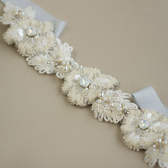 Ivory Beaded Floral Bridal Belt,Wedding Belt,Sparkly Beading Sash,Gorgeous Pearl Belt, SA0035