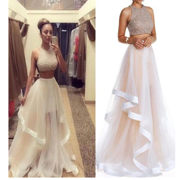 Two Pieces Beaded Unique Charming Vintage Formal Evening Prom Dresses. AB0305
