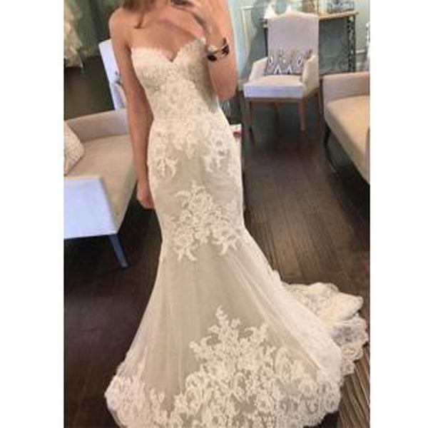 2017 Strapless Sweetheart Lace Mermaid Elegant Simple Charming Cheap Wedding Dress , WD0175