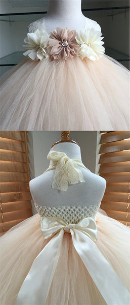 Lace Strap Handmade Flower Pixie Tutu Dresses, Afford Flower Girl Dresses,  FG041