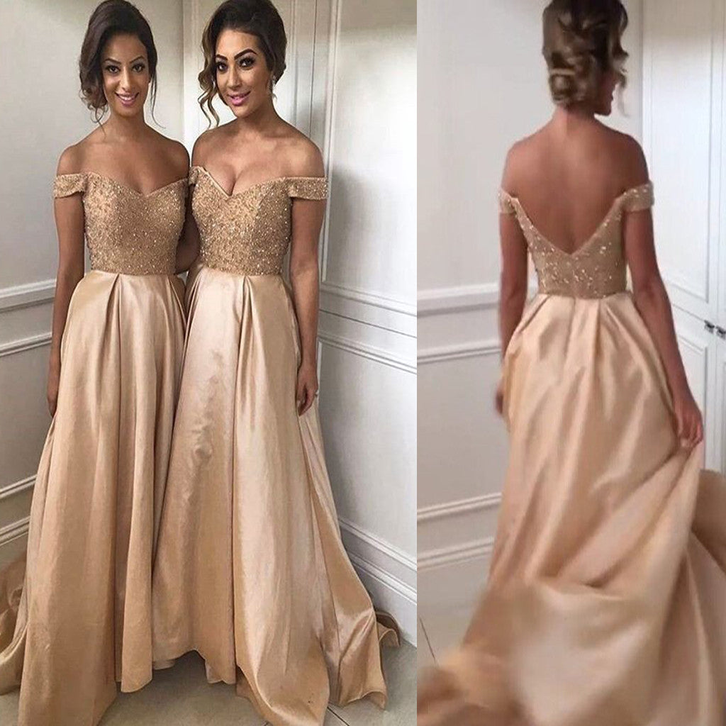Long Elegant Off Shoulder V-neck Open V Back Beads Satin  Formal Prom  Bridesmaid Dress, AB1168