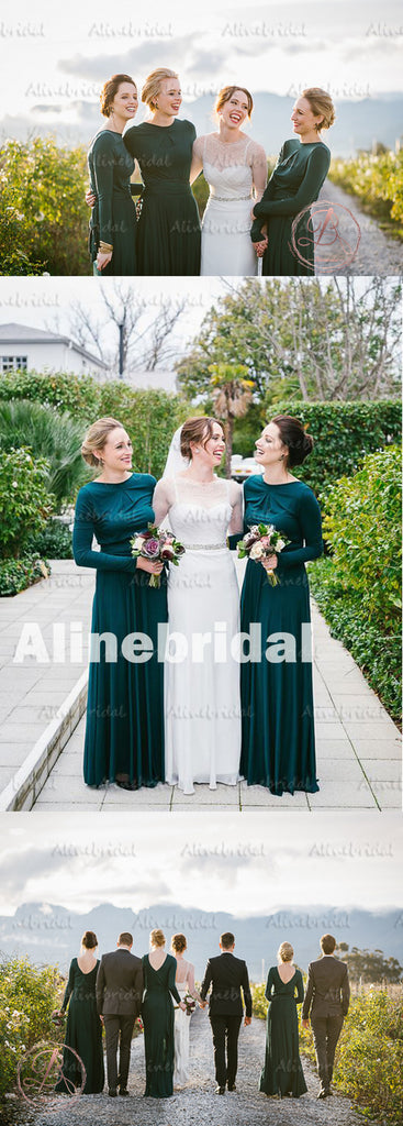 Winter Hot Sale Green Jersey Long Sleeve Round Neck Modest Long Bridesmaid Dress. AB1181