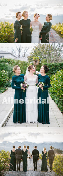 2017 Winter Hot Sale Green Jersey Long Sleeve Round Neck Modest Long Bridesmaid Dress. AB1181