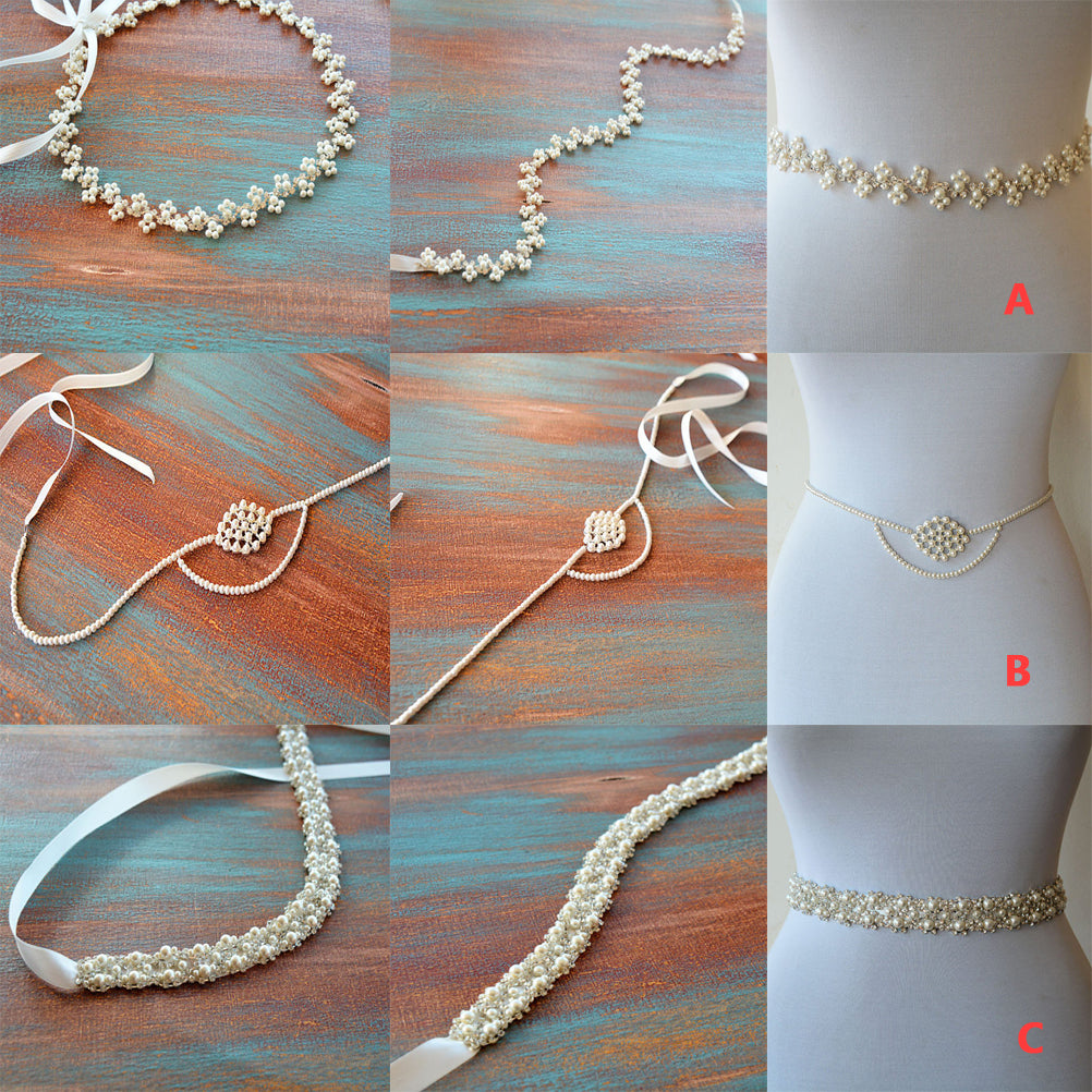 Thin Beading Pearl Bridal Belt, Wedding Belt, Wedding Sash, Different Pattern Sashes, SA0017