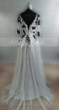Long Sleeves Appliqued Ball Gown V-Neck Unique Formal Prom Dress. PD0300