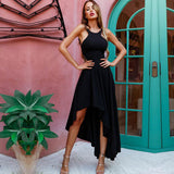 Sexy Spaghetti Strap Lace Up Back High-low Black Evening Party Prom Dresses,PD00010
