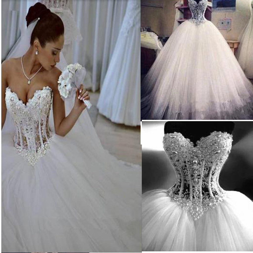 Sparkly Crystal Ball Gown Corset with Beading Sweetheart Tulle Princess Bridal Gown Wedding Dress .WD0110