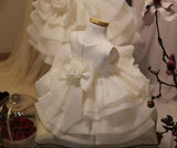 Ivory Satin Sleeveless Cute Flower Girl Dresses With Bow, Cute Little Girl Dresses, FG042