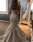 Gorgeous Shiny Beading Lace Strapless Overskirt Wedding Dresses, AB1525