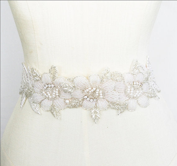 Gorgeous Crystal Rhinestone Bridal Belt, Pearl Bridal Belt,Beaded Flower Wedding Belt, White Sash, SA0037
