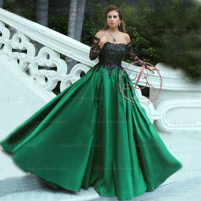 Charming Off Shoulder Black Appliques Green Satin Ball Gown Prom ...