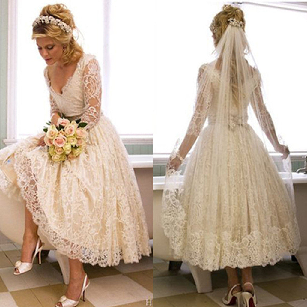 Vintage V-Neck Long Sleeve Tea Length White Lace Princess Wedding Party Dresses, WD0031