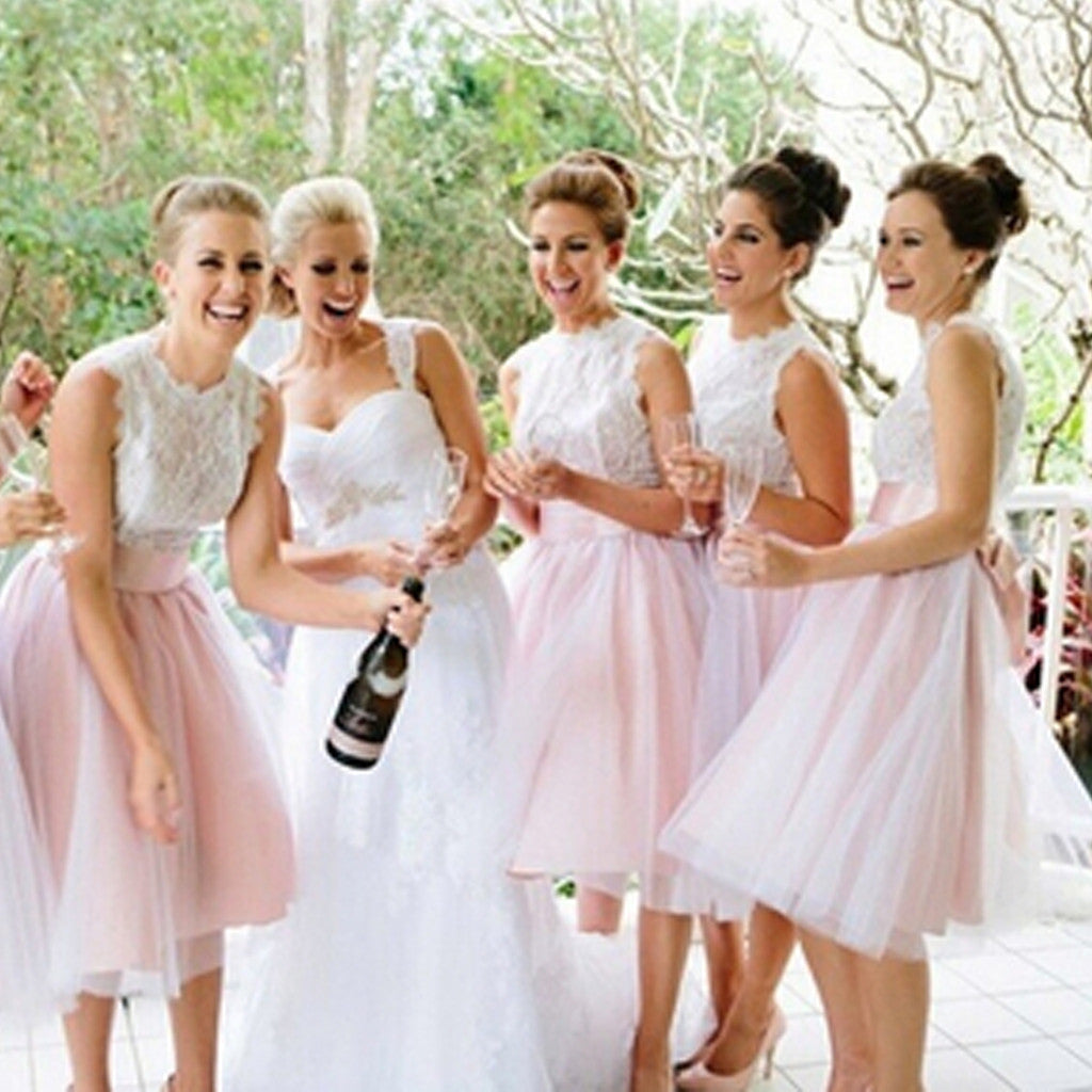 Junior Pretty Lace Small Round Neck Blush Pink Tulle Short Bridesmaid Dresses for Wedding Party, WG33
