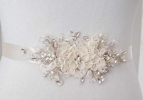Ivory Floral Bridal Belt,Wedding Belt,Crystal Rhinestones Girl Sash,Lace Appliques Sashes, SA0028
