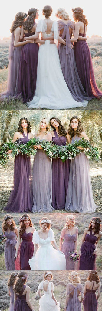 Convertiable Mismatched Tulle Long Wedding Party Dresses Cheap Charming Bridesmaid Dresses, WG34