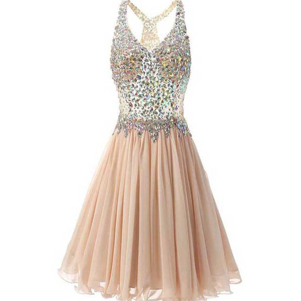 Short Sparkly Vintage Sleeveless V-neck Rhinestone Top Chiffon Open Back Homecoming Dresses,BD0036