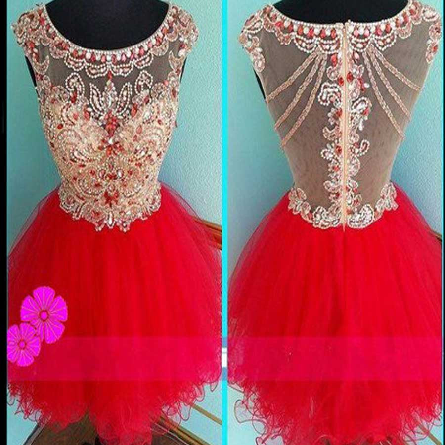 Red mini sparkly cute cap sleeve vintage unique homecoming prom dress,BD0037