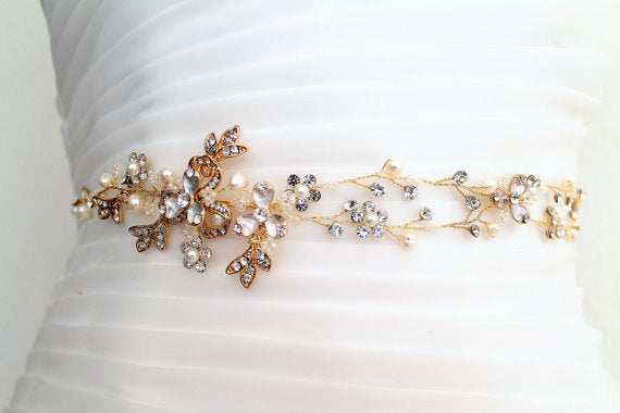 Floral Bridal Belt,Wedding Belt,Crystal Rhinestones Girl Sash, Gold Beaded Leaves Sashes, SA0026