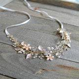 Rose Gold Floral Bridal Belt,Wedding Belt,Crystal Rhinestones Girl Sash, Leaves Sashes, SA0027