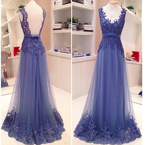 Blue Lace Open Back A-line Elegant Vintage Formal Evening Gown Prom Dress. PD071