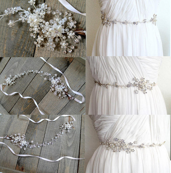 Floral Bridal Belt,Wedding Belt,Sparkly Beading Sash,Gorgeous Silver light Pink Ivory Belt, SA0024