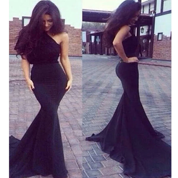 One Shoulder Black Mermaid Sexy Floor-Length Evening Party Prom Gown Dresses, PD0216