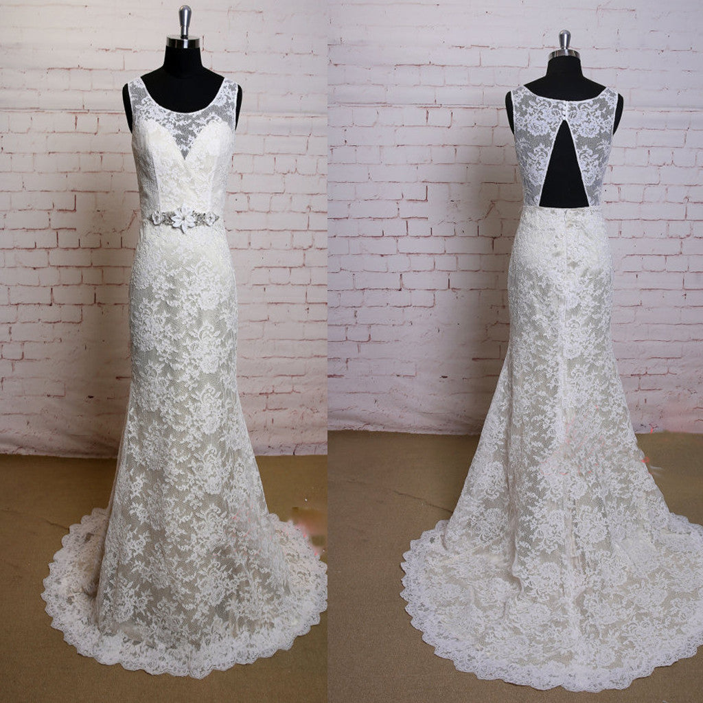 Fashion Lace Ivory Appliques Elegant Open Back Vintage Princess Mermaid Bridal Gown Wedding Dresses, WD0081