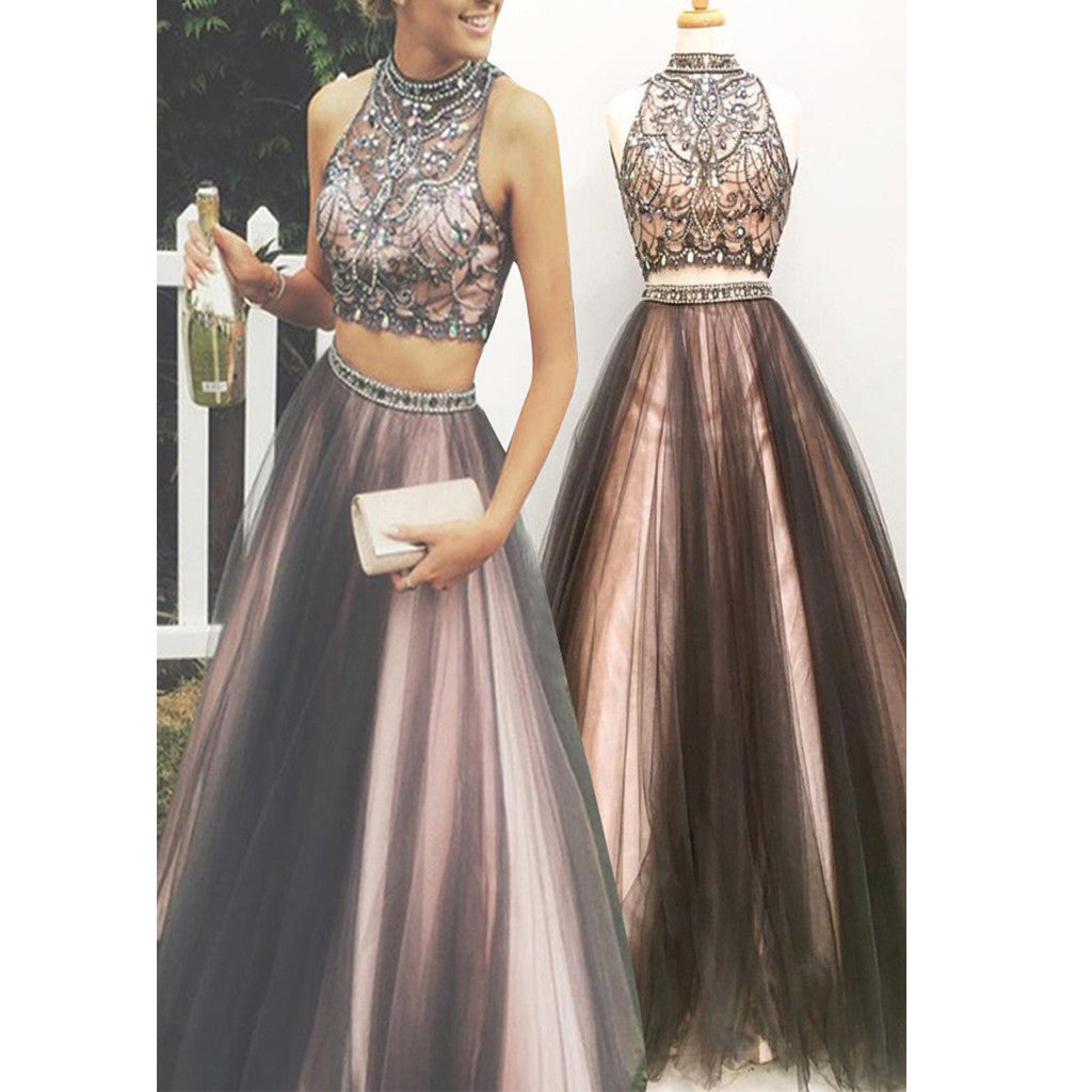 2017 New Two Pieces Vintage Ball Gown Gorgeous Long Prom Dresses ...