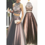 New Two Pieces Vintage Ball Gown Gorgeous Long Prom Dresses,AB080