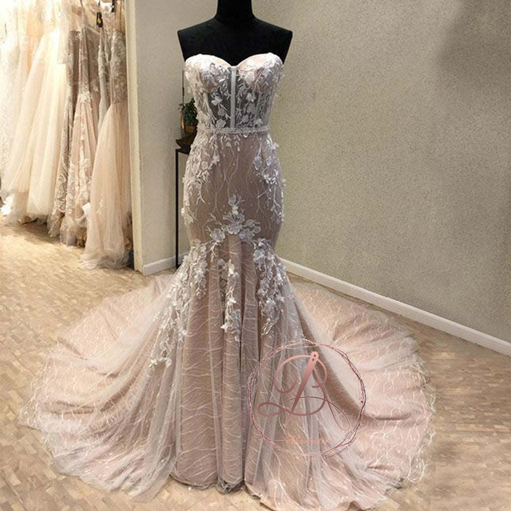 Stunning Sweetheart Strapless Lace Appliques Mermaid Lace Up Back Prom Dresses,PD00052