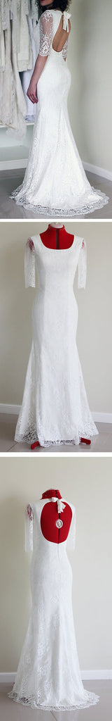 Popular Half Sleeve Sexy Long Mermaid Open Back White Lace Wedding Party Dress, WD0041